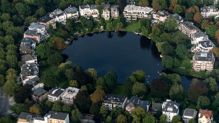 Aerial of Rondeel Teich in Hamburg