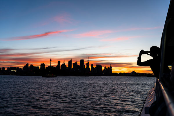 Sydney skyline from ferry after sunset