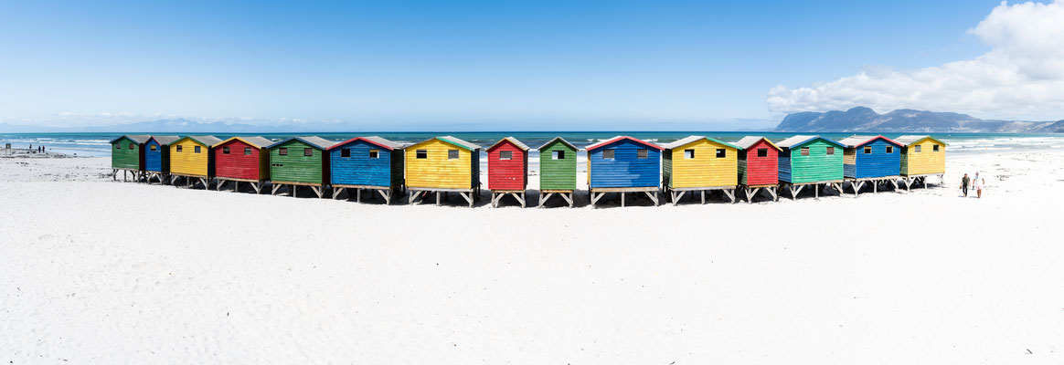 The colourful houses of Muizenberg beach, South Africa
