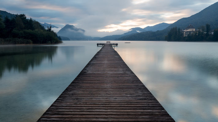 Pier at Fuschlsee, Austria, acting as leading line