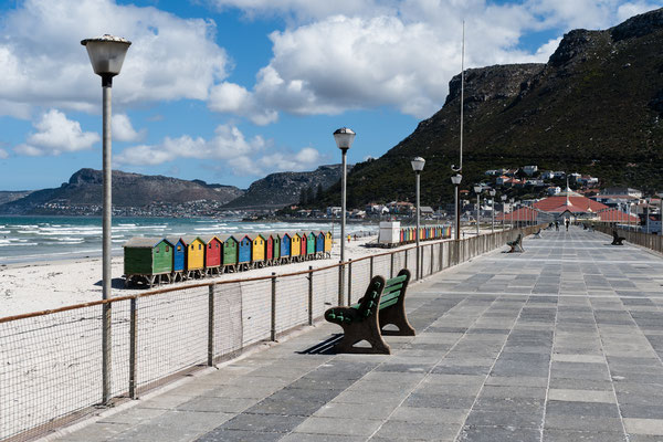 The colourful beach houses of Muizenberg, South Africa, as seen from the promenade