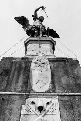 Bronze statue of Michael the Archangel, standing on top of the Castel Sant'Angelo, modelled in 1753 by Peter Anton von Verschaffelt