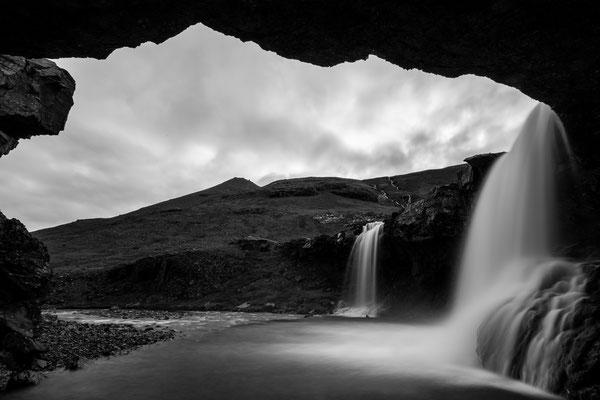 Skutafoss twin waterfall in Iceland