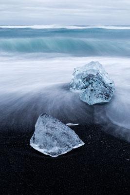 Long exposure at Diamond beach in Iceland