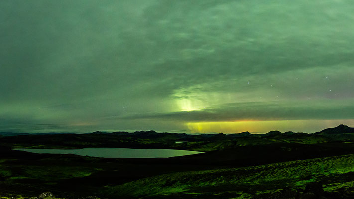 Northern lights over Laki lake in Iceland