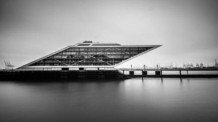 Long exposure of Dockland at Elbe river in Hamburg