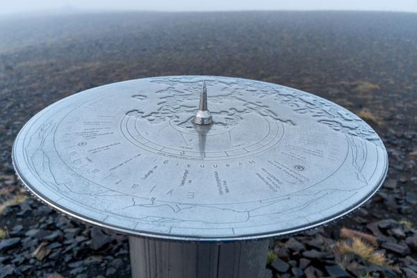 This table shows directions and distances to glaciers like the Eyjafjallajökull.