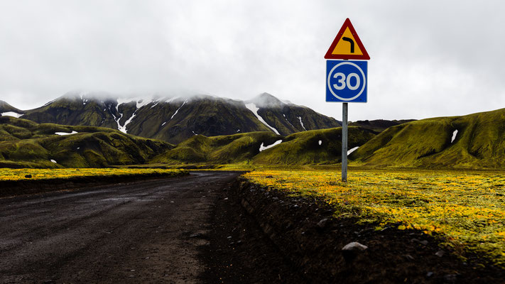 Traffic sign in the highlands of Iceland