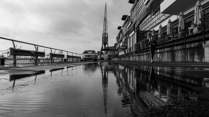Old harbour crane at Altoaner Hafen in Hamburg