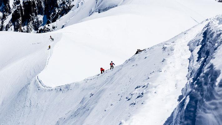 Mountain climbers at Mont Blanc near Chamonix