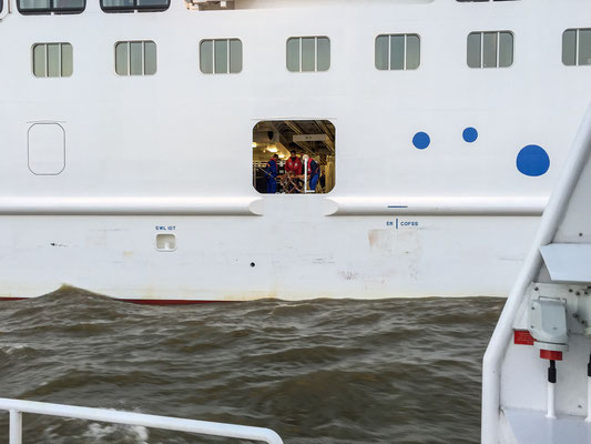 The pilot door of Aida Prima after leaving with another tender