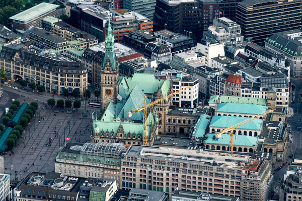 Aerial of City Hall and Hamburg Chamber of Commerce