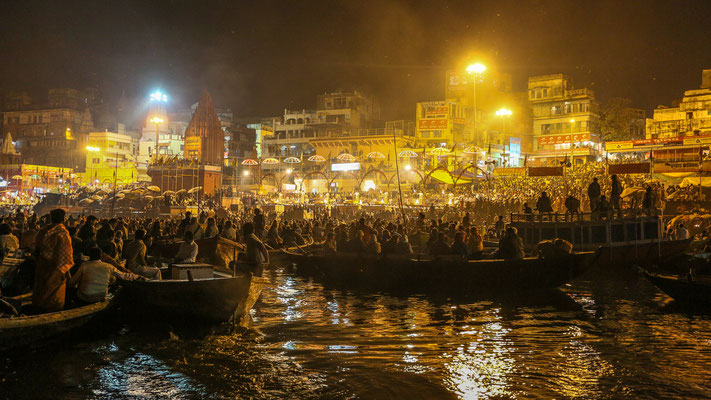 Boat scene opposite the Varanasi ghats in India
