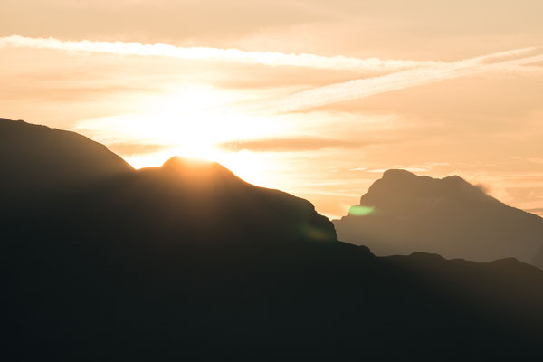 Southern Tyrol mountains during sunrise seen from Roßkopf, Sterzing, Italy