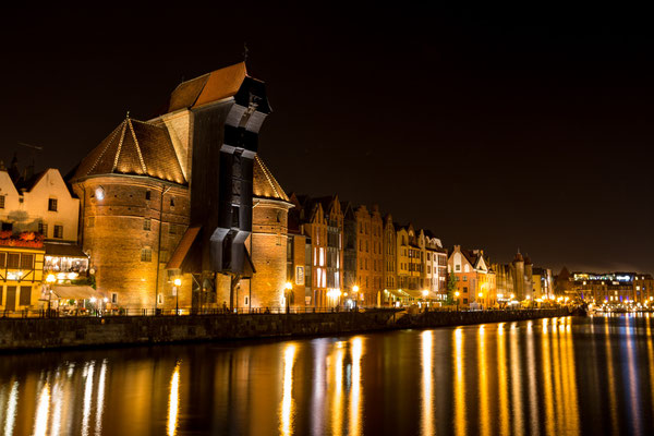 Old crane of Gdansk, Poland, at night