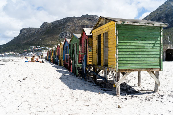 The colourful beach houses of Muizenberg, South Africa