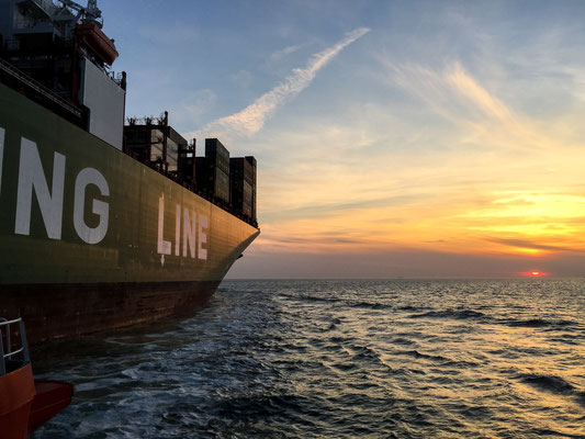Could not call for a better sunset at Deutsche Bucht leaving the container ship