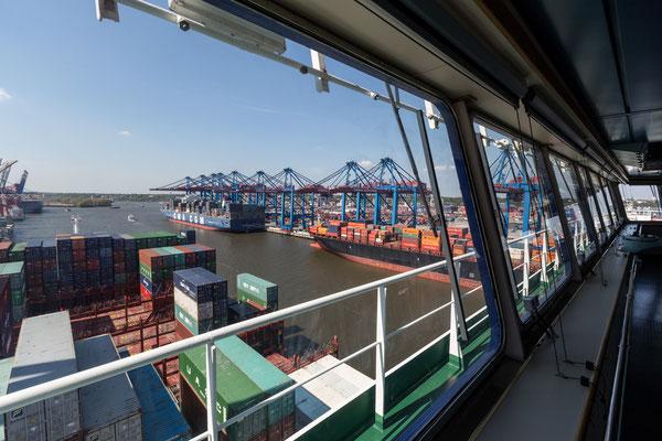 Looking towards HHLA Burchardkai Container Terminal