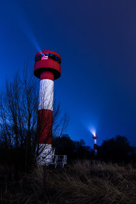 Two lighthouses near Container terminal Altenwerder at night
