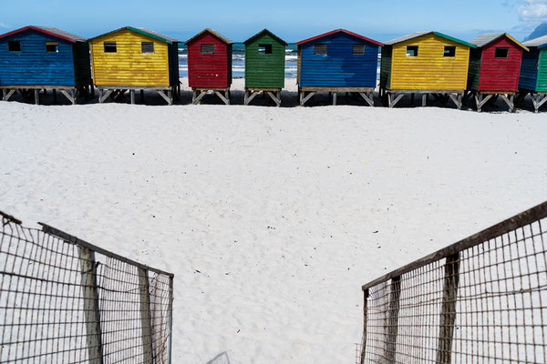 Looking down at the colourful beach houses of Muizenberg, South Africa