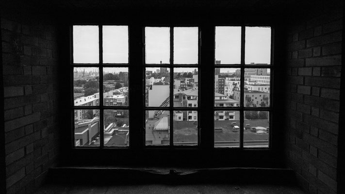 A shot from within through a window in Hamburg