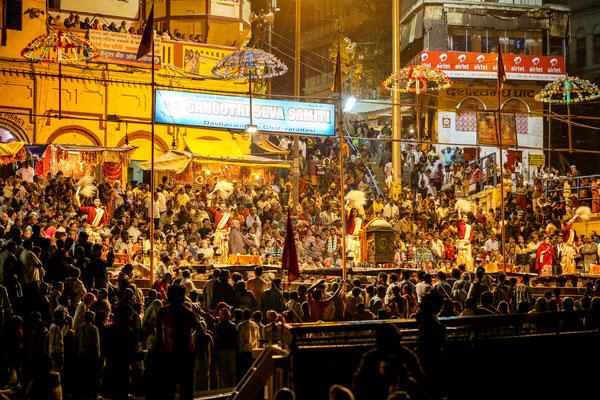 Looking towards the Varanasi ghats in India