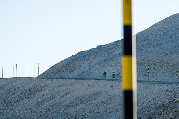 Two cyclists riding up Mont Ventoux, Provence