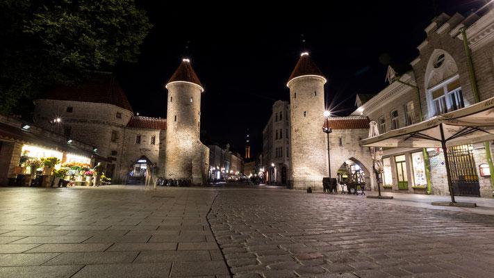 City gate in Tallinn at night
