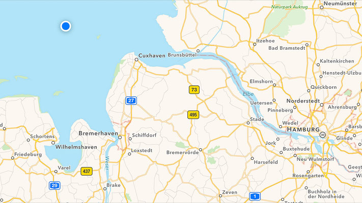 Location of Elbe 1 at Deutsche Bucht: This is where I changed ships.