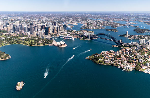 Aerial of Sydney harbour, New South Wales, Australia