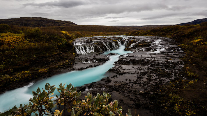 Long exposure of Bruarfoss in Iceland during autumn