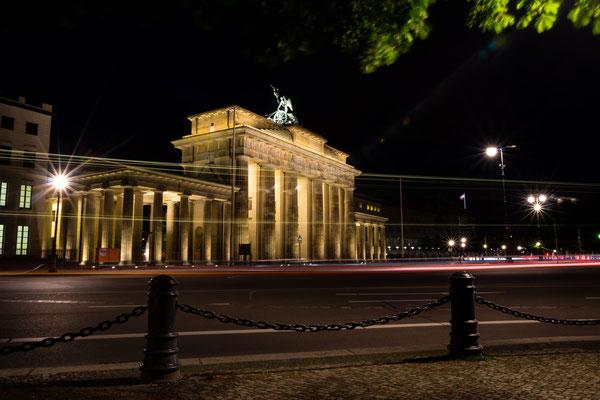 Long exposure of Brandenburger Tor in Berlin at night