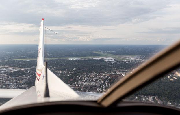 Aerial of Hamburg Airport Fuhlsbüttel off Cessna rear