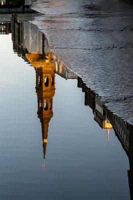 Mirrored St. Katharinen during sunset