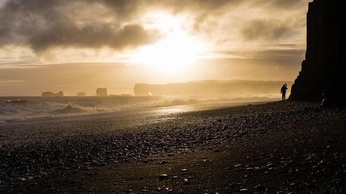 Sunset at Reynisfjara black beach in Iceland