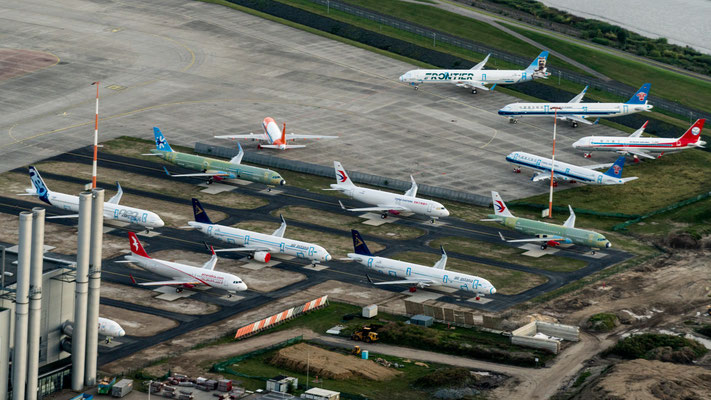 Aerial of parked Airbus planes at Finkenwerder