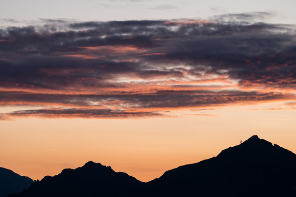 Southern Tyrol mountains before sunrise seen from Sterzing, Italy