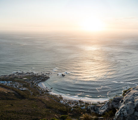 Viewing Clifton Beach seen from Lion's Head during sunset