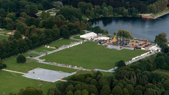 Aerial of Rolling Stones setup at Stadtpark Hamburg