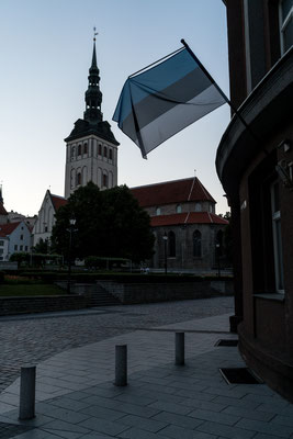 Church in Tallinn with Estonian flag