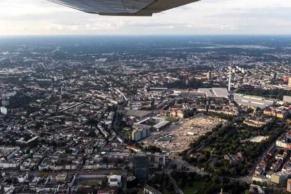 Aerial of St. Pauli stadium, Heiligengeistfeld and Hamburg Messe