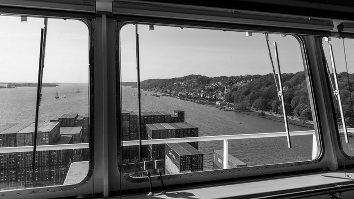 The beautiful view from the bridge towards Blankenese