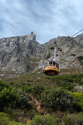 Going up Table Mountain with a cable car