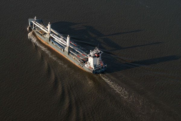 Aerial of ship on Elbe river near Hamburg