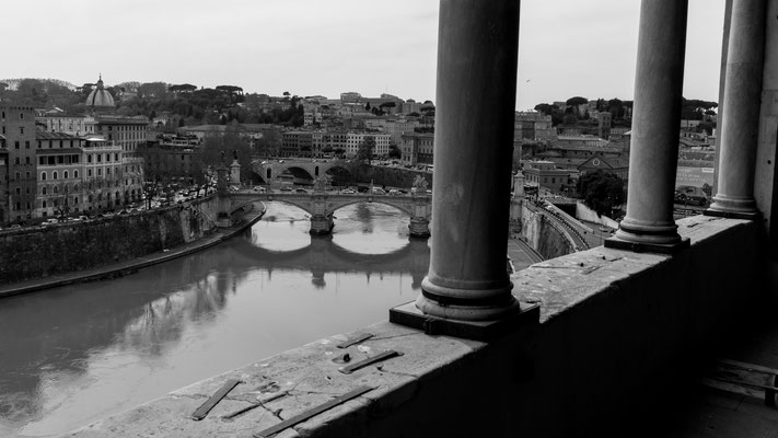 Looking down river Tiber from Castel Sant'Angelo