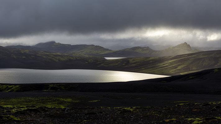 Sunset at lake Laki in Iceland