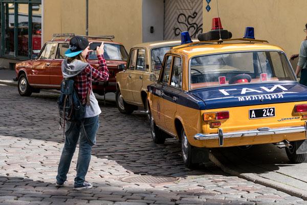 Classic cars in Tallinn street