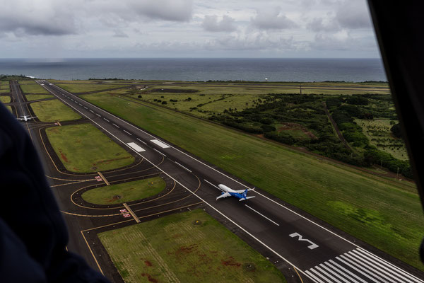 Aerial of Lihue Airport landing strip acting as leading line