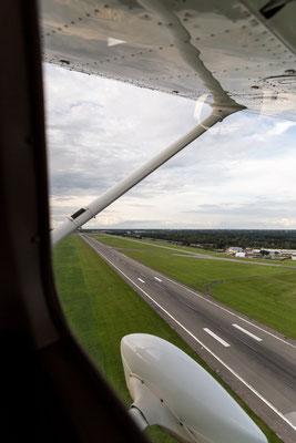 Aerial of landing strip at Hamburg Airport Fuhlsbüttel off Cessna