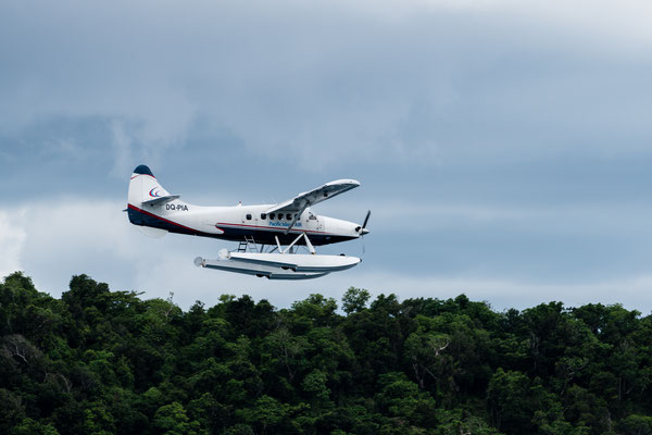 Tourists flying out of a luxury resort on Fiji